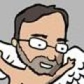 A cartoon drawing of a man with glasses, beard, and two wings